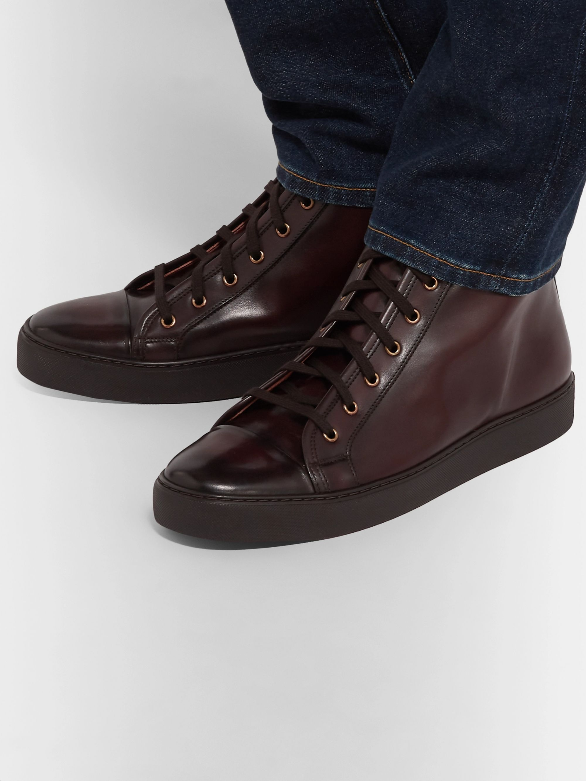 Ralph Lauren Purple Label Burnished-Leather High-Top Sneakers