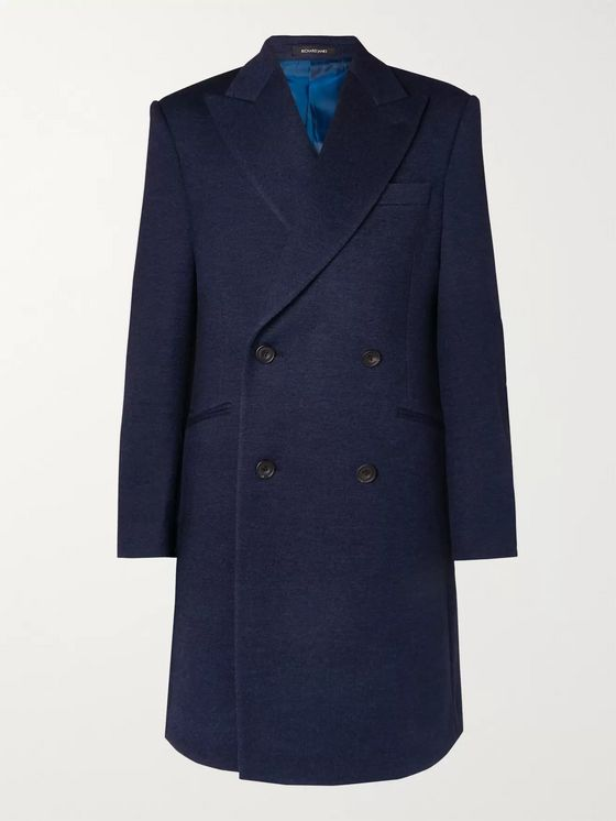 Richard James Double-Breasted Mélange Wool-Jersey Overcoat