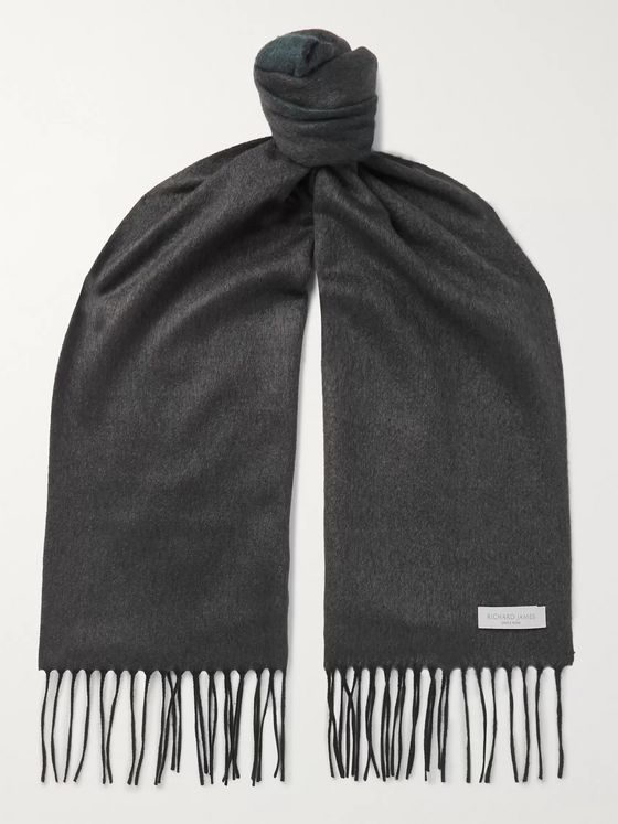 Richard James Fringed Silk and Cashmere-Blend Scarf