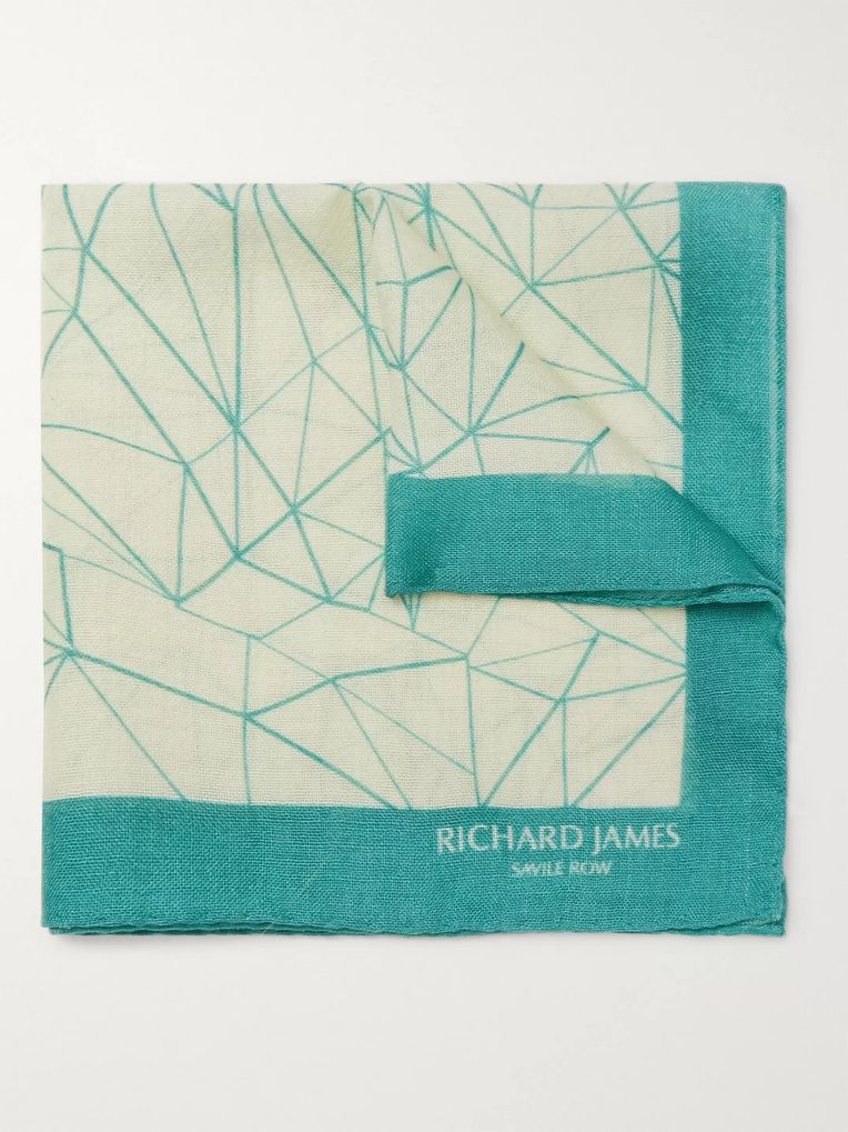 Richard James Printed Wool and Silk-Blend Pocket Square