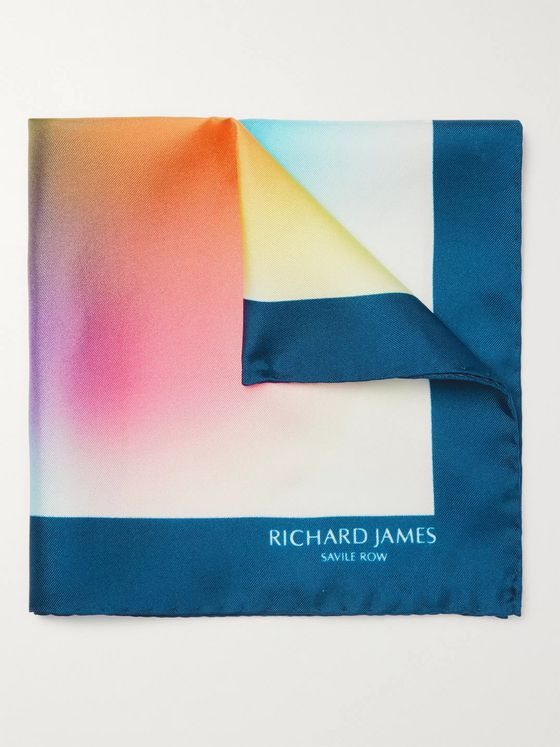 Richard James Printed Silk-Twill Pocket Square