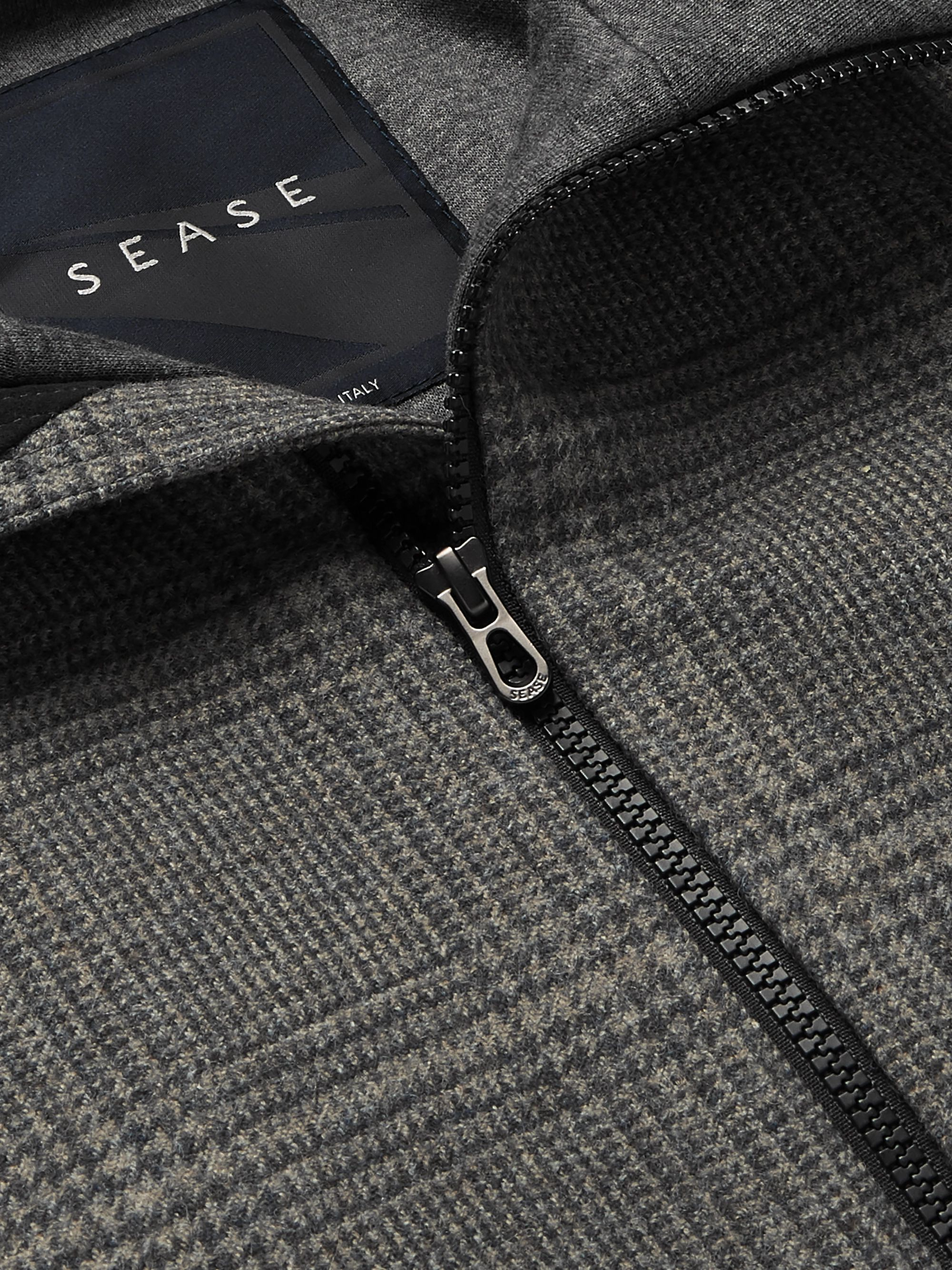 Sease Layered Prince of Wales-Checked Virgin Wool and Cotton-Blend Bomber Jacket