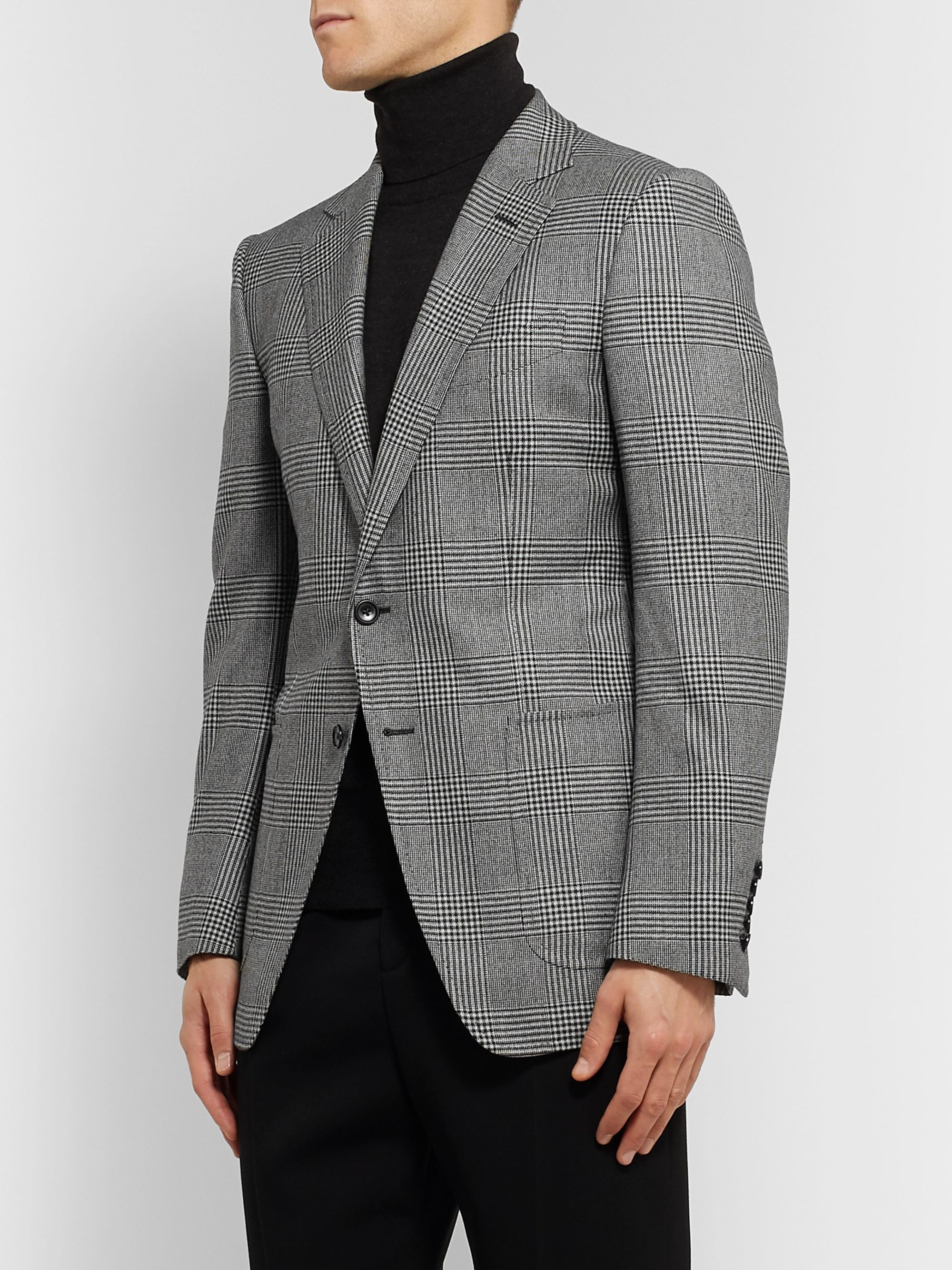TOM FORD Grey O'Connor Slim-Fit Prince of Wales Checked Wool Blazer