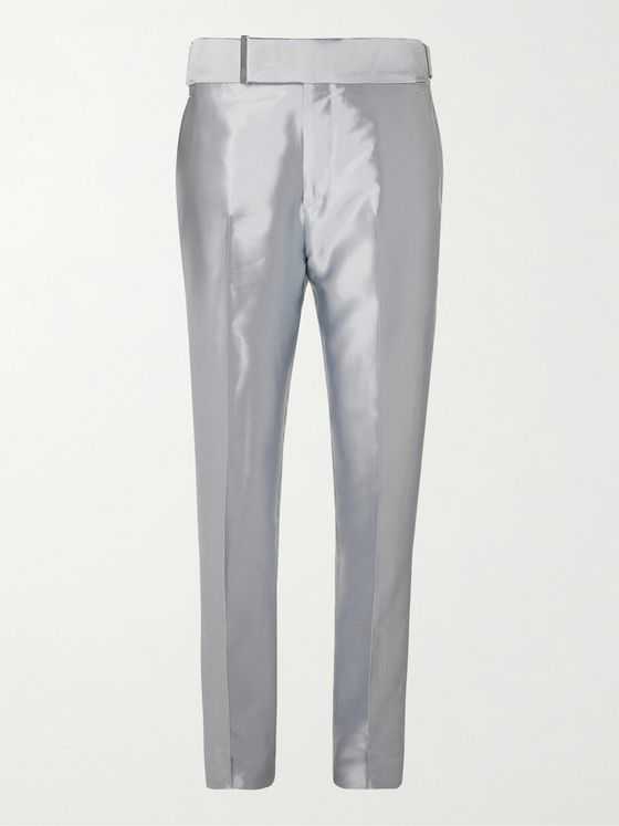 TOM FORD Silver Slim-Fit Satin-Twill Tuxedo Trousers
