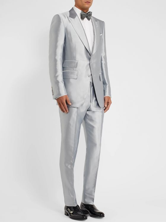 TOM FORD Silver Atticus Slim-Fit Satin-Twill Tuxedo Jacket
