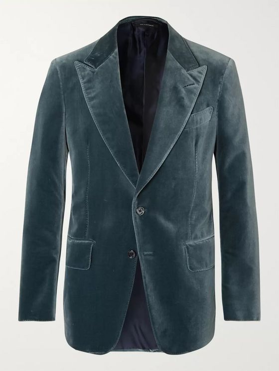 TOM FORD Shelton Teal Slim-Fit Cotton-Velvet Tuxedo Jacket