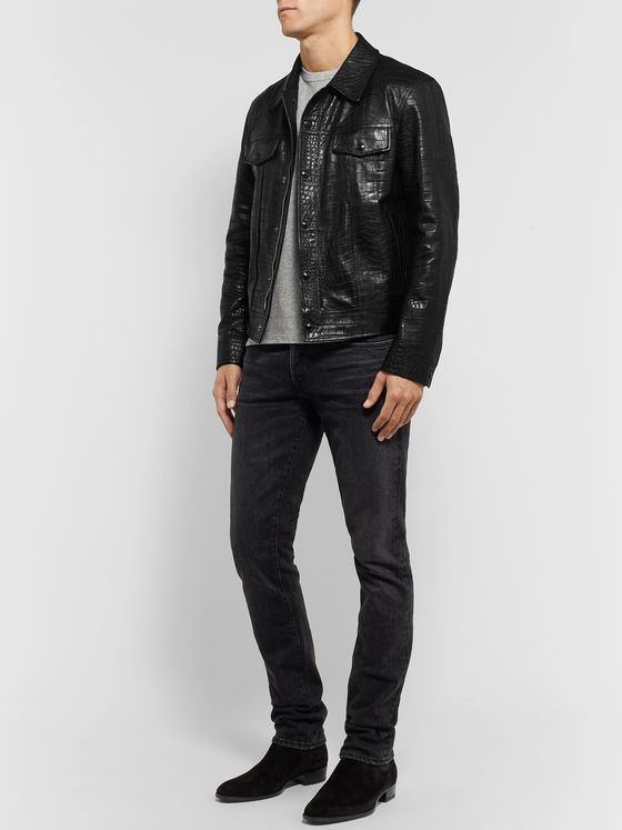 TOM FORD Slim-Fit Croc-Effect Leather Trucker Jacket