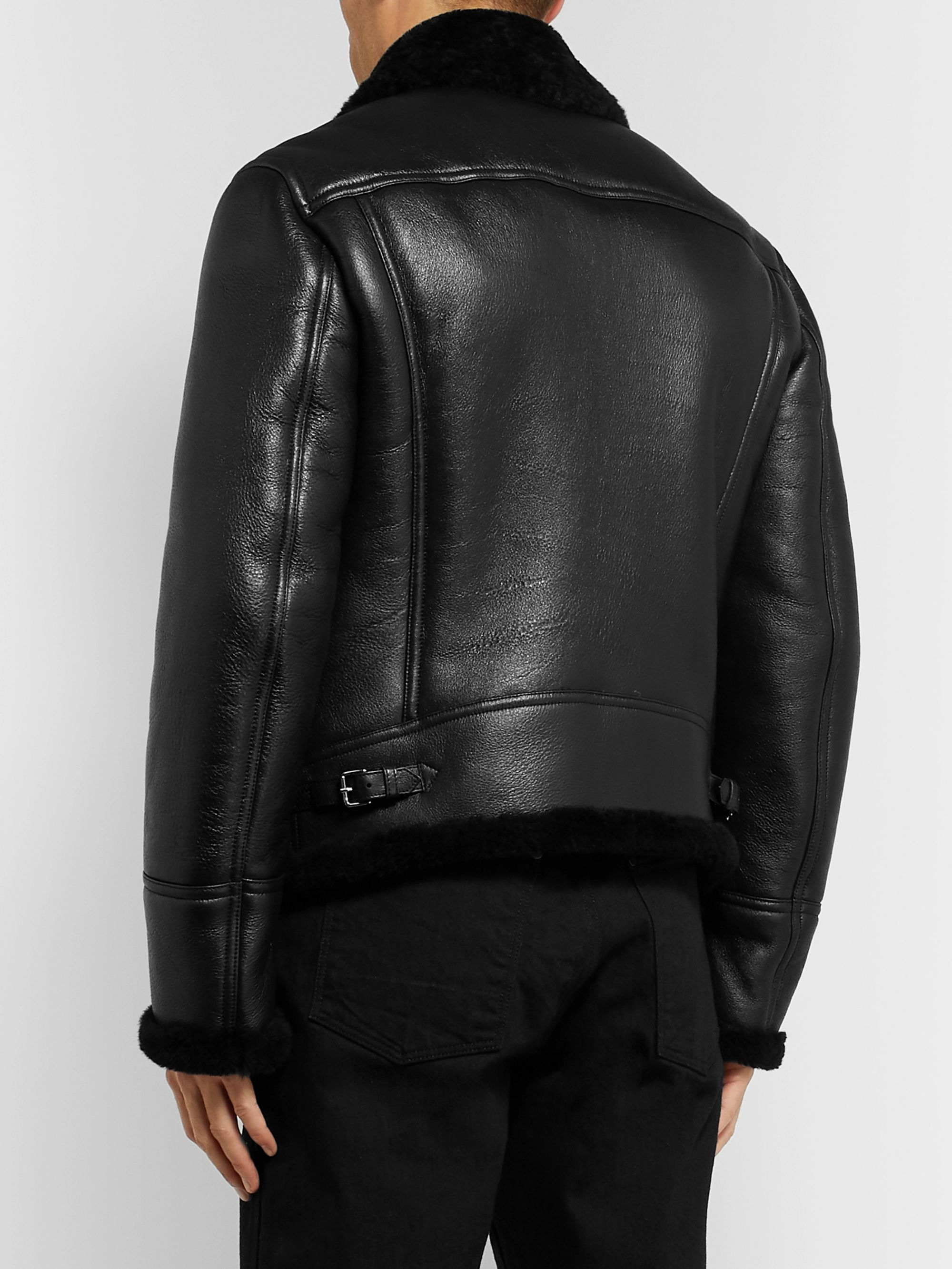 TOM FORD Shearling-Lined Leather Aviator Jacket