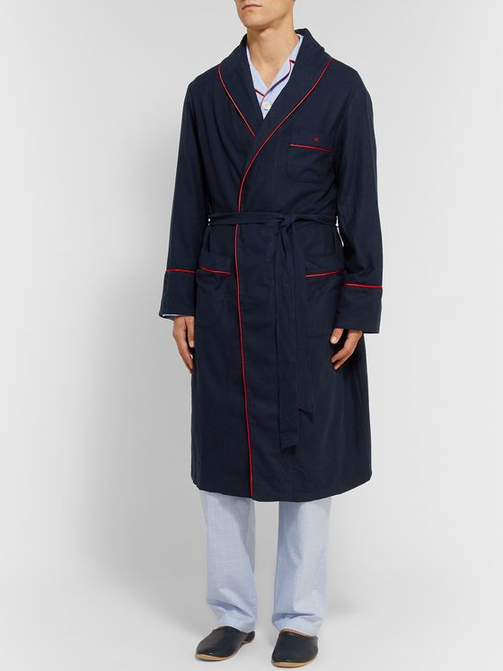 Isaia Piped Cotton and Cashmere-Blend Robe
