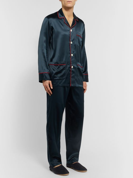 Isaia Piped Stretch-Silk Pyjama Set