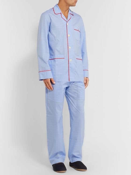 Isaia Piped Striped Cotton Pyjama Set