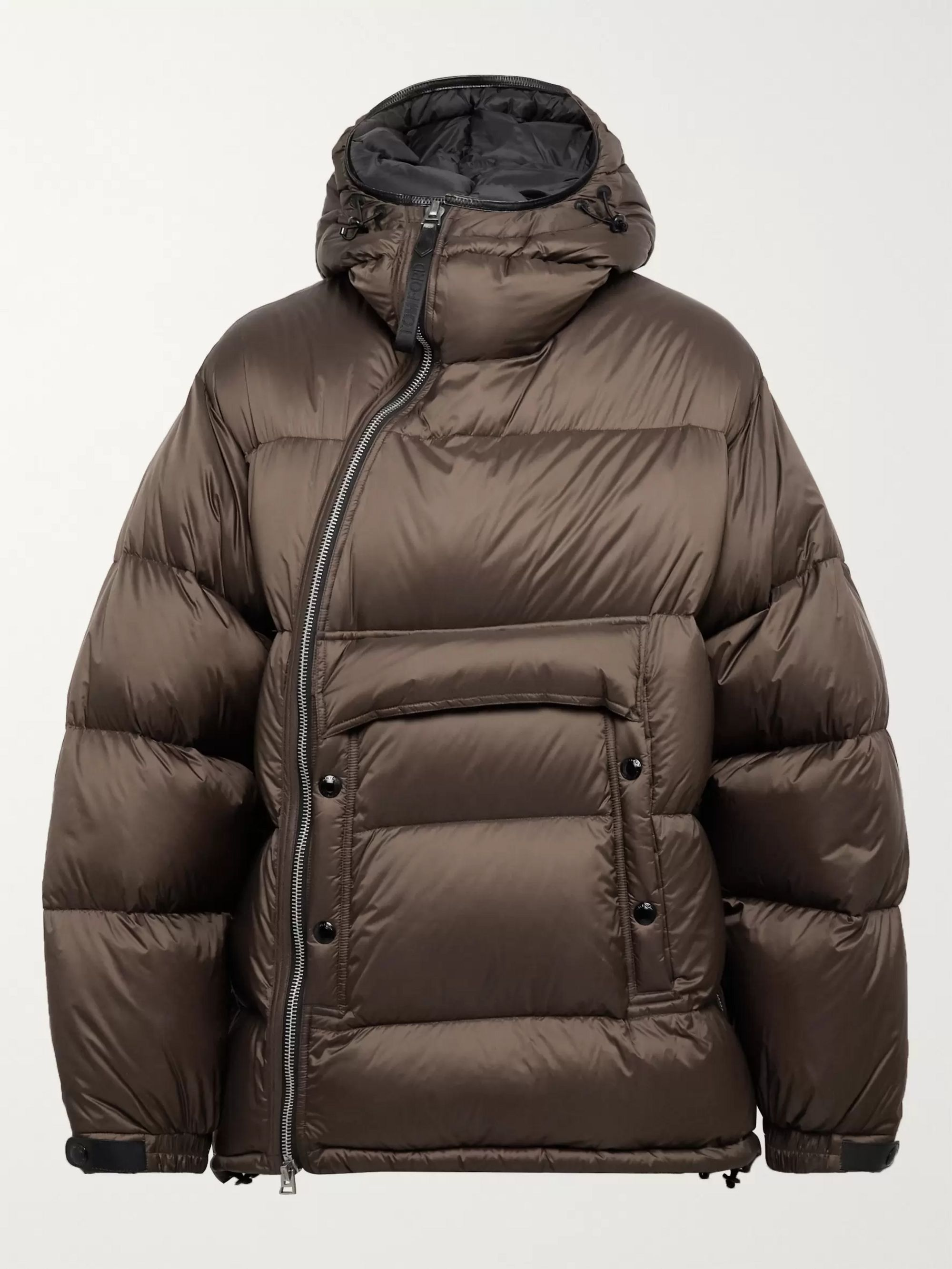 TOM FORD Leather-Trimmed Quilted Shell Hooded Down Jacket