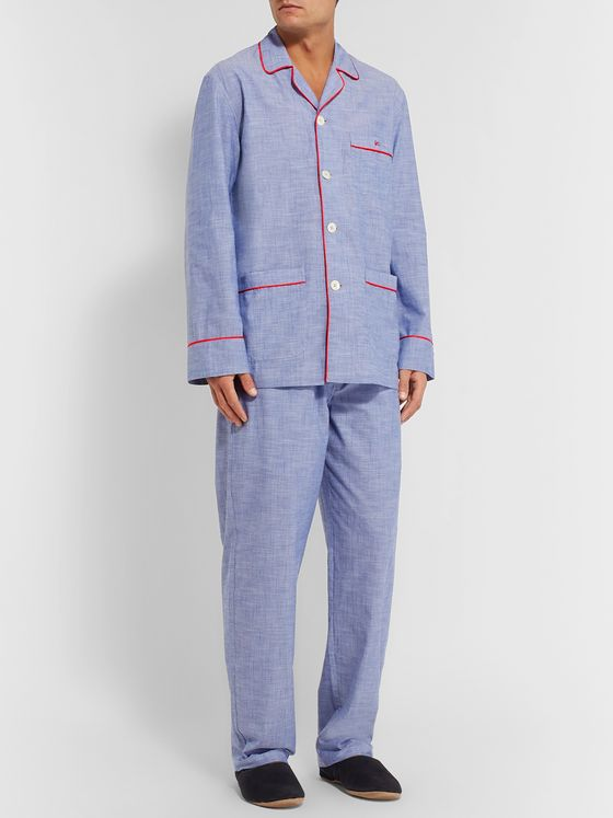 Isaia Piped Cotton Pyjama Set