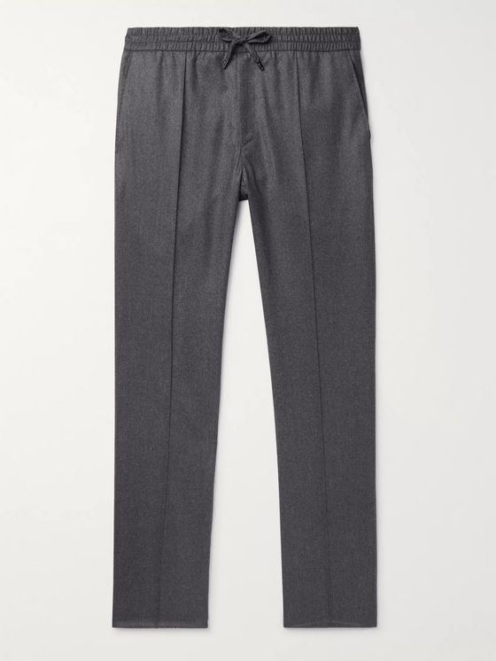 Brioni Grey Slim-Fit Wool and Cashmere-Blend Flannel Drawstring Trousers