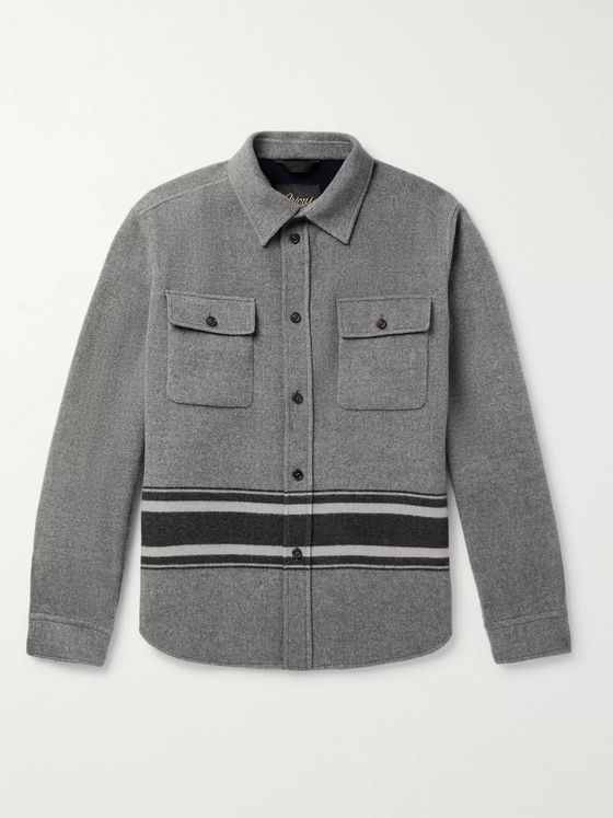 Brioni Striped Melton Wool Overshirt
