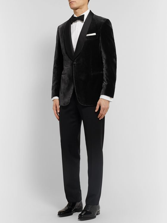 Brioni Anthracite Slim-Fit Shawl-Lapel Satin-Trimmed Velvet Tuxedo Jacket