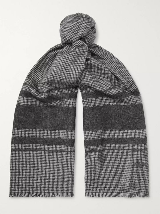 Brioni Logo-Embroidered Striped Silk and Cashmere-Blend Scarf