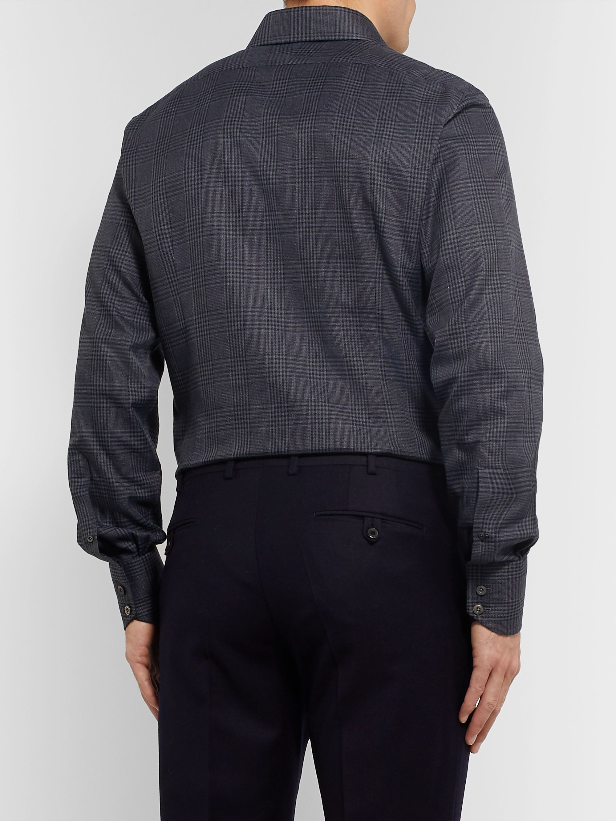 TOM FORD Grey Prince of Wales Checked Cotton Shirt