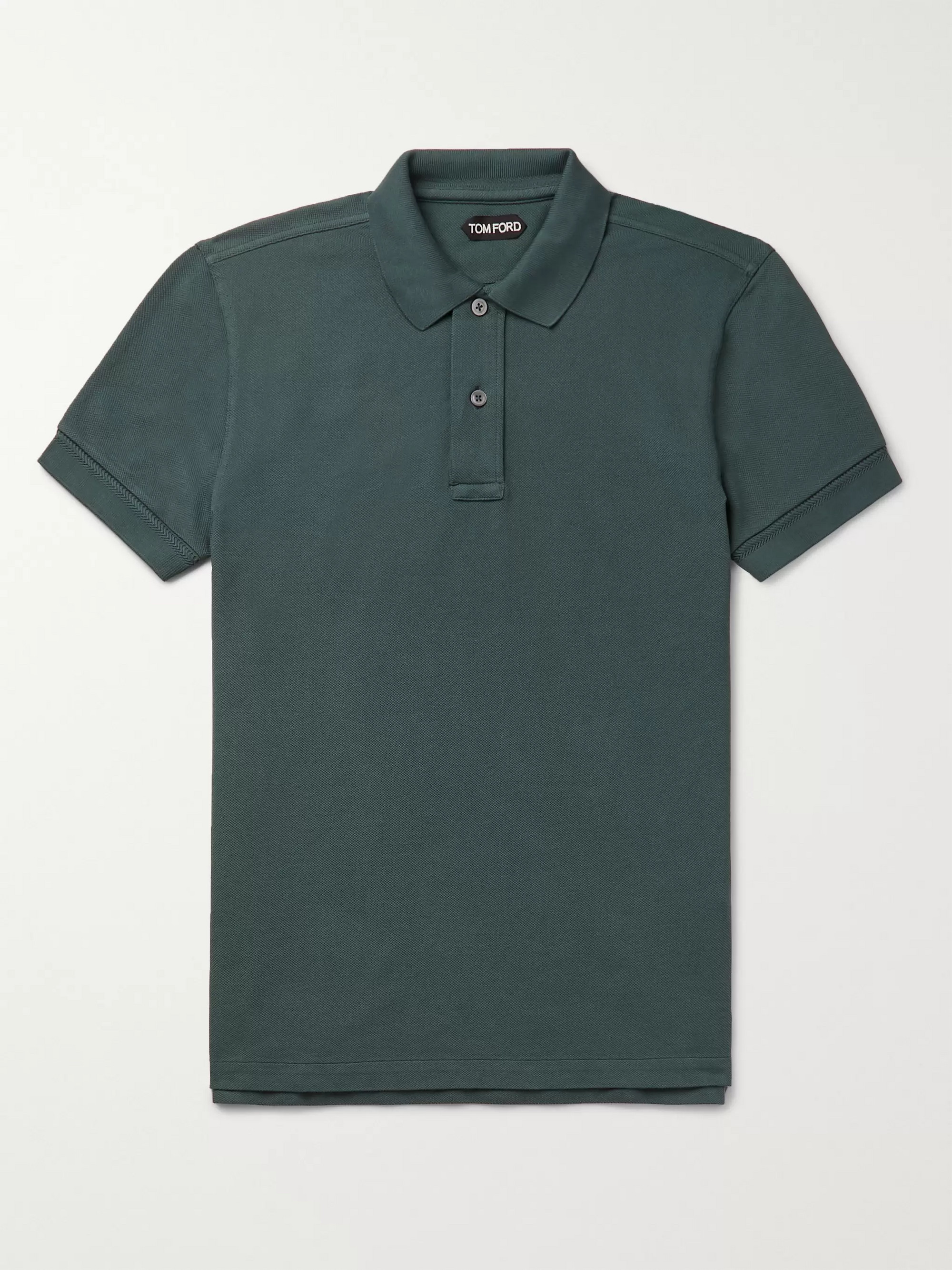 56aca5aaa7e69 Teal Slim-Fit Garment-Dyed Cotton-Piqué Polo Shirt   TOM FORD   MR ...