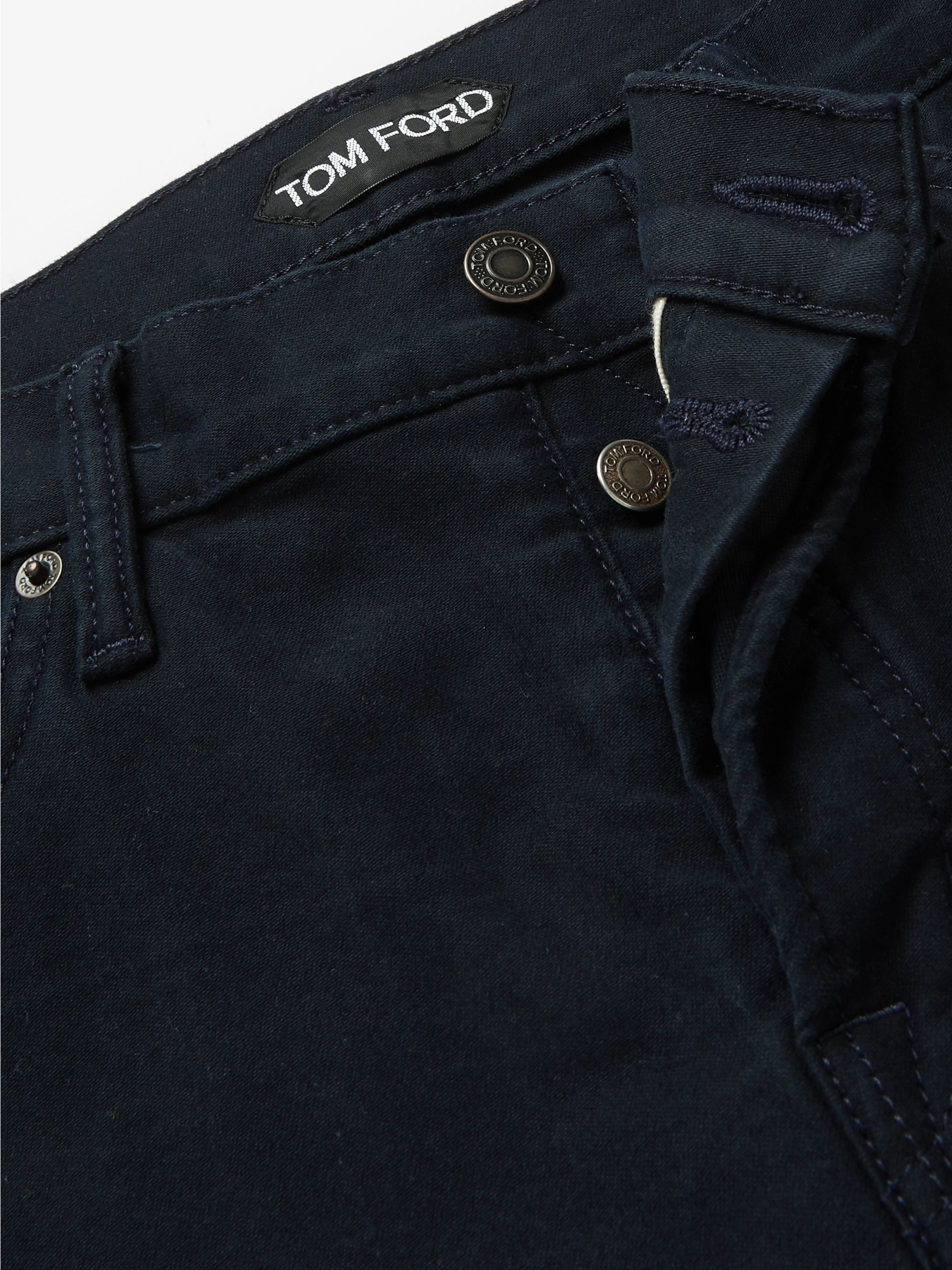 TOM FORD Navy Slim-Fit Cotton-Blend Moleskin Trousers