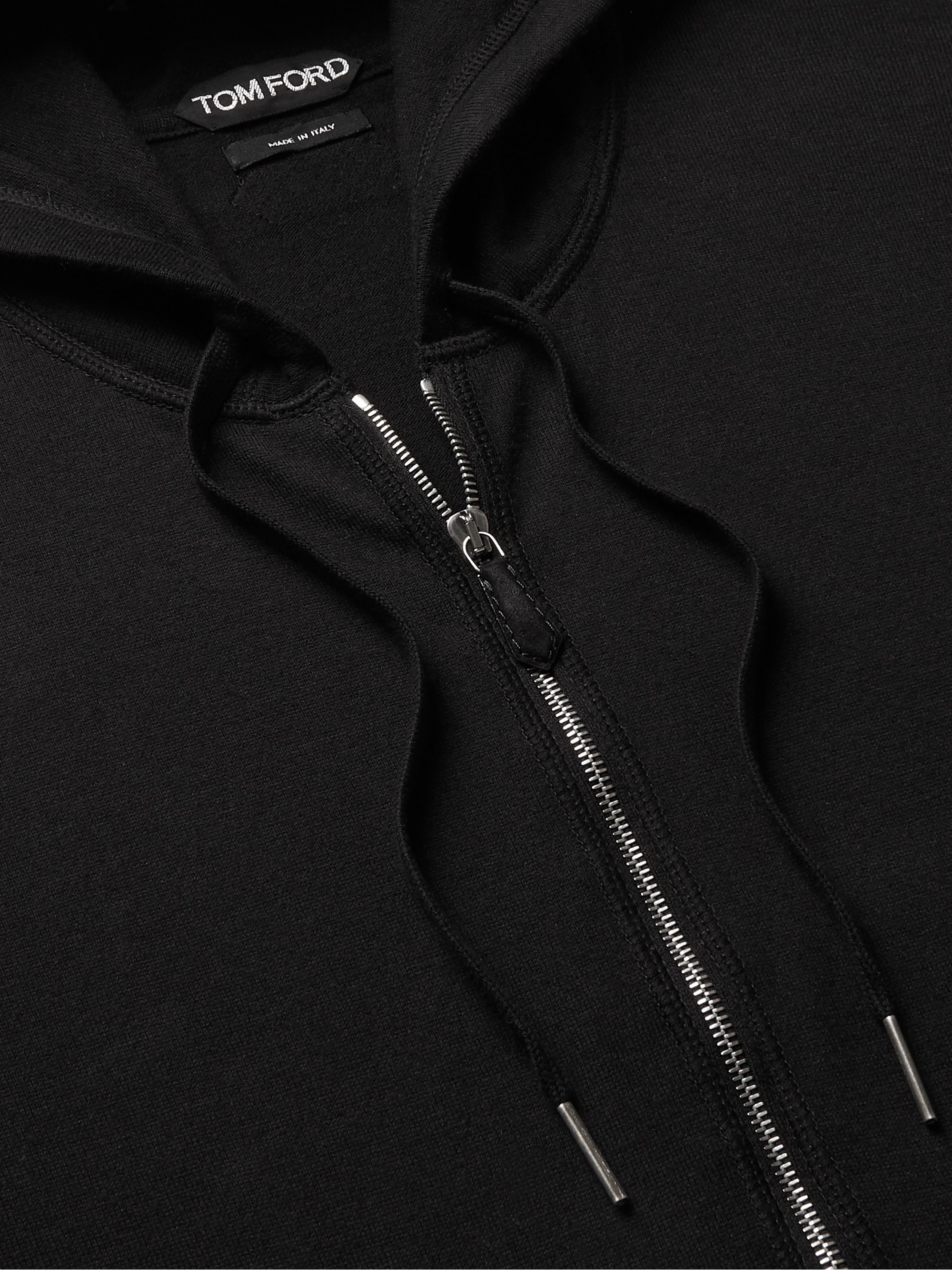 TOM FORD Slim-Fit Cotton, Silk and Cashmere-Blend Zip-Up Hoodie