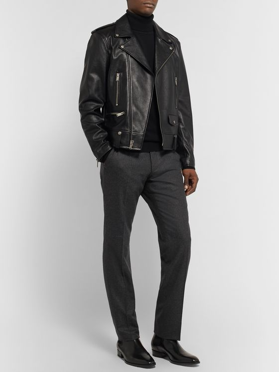 TOM FORD Dark-Grey Shelton Slim-Fit Wool-Flannel Trousers