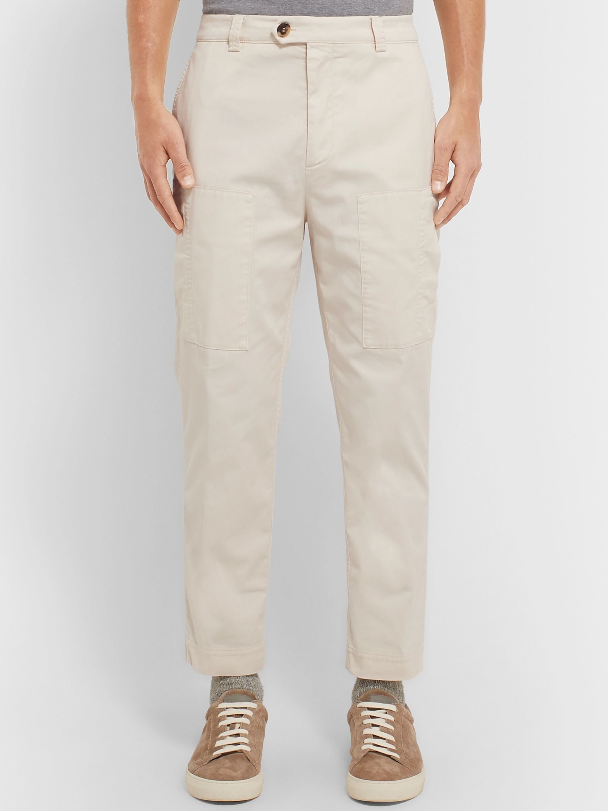 Brunello Cucinelli Tapered Cotton-Blend Trousers