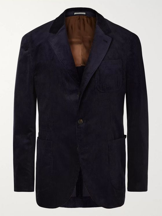 Brunello Cucinelli Burgundy Sea-Island Cotton-Corduroy Suit Jacket
