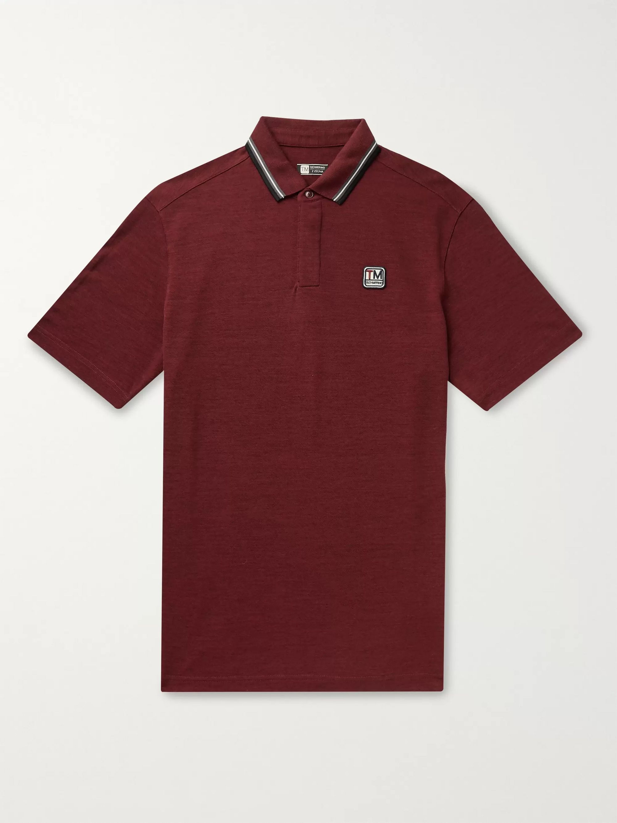 Z Zegna Contrast-Tipped Logo-Appliquéd TECHMERINO Wool Polo Shirt