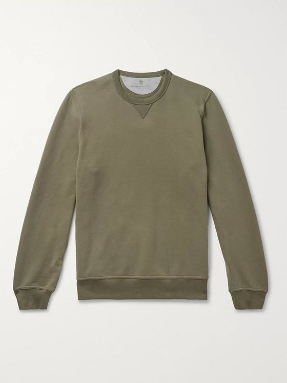 Brunello Cucinelli Mélange Fleece-Back Stretch-Cotton Jersey Sweatshirt