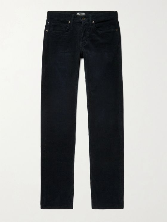 TOM FORD Midnight-Blue Slim-Fit Stretch-Cotton Corduroy Trousers