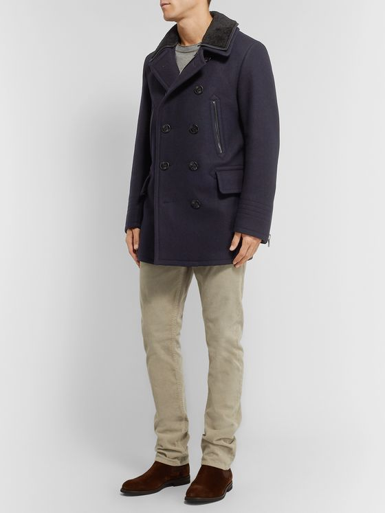 TOM FORD Shearling-Trimmed Wool-Blend Peacoat