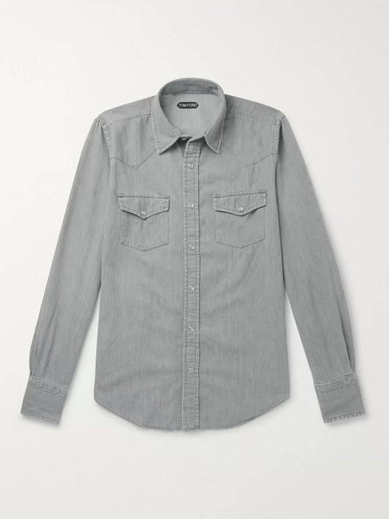 TOM FORD Mickey Slim-Fit Denim Western Shirt