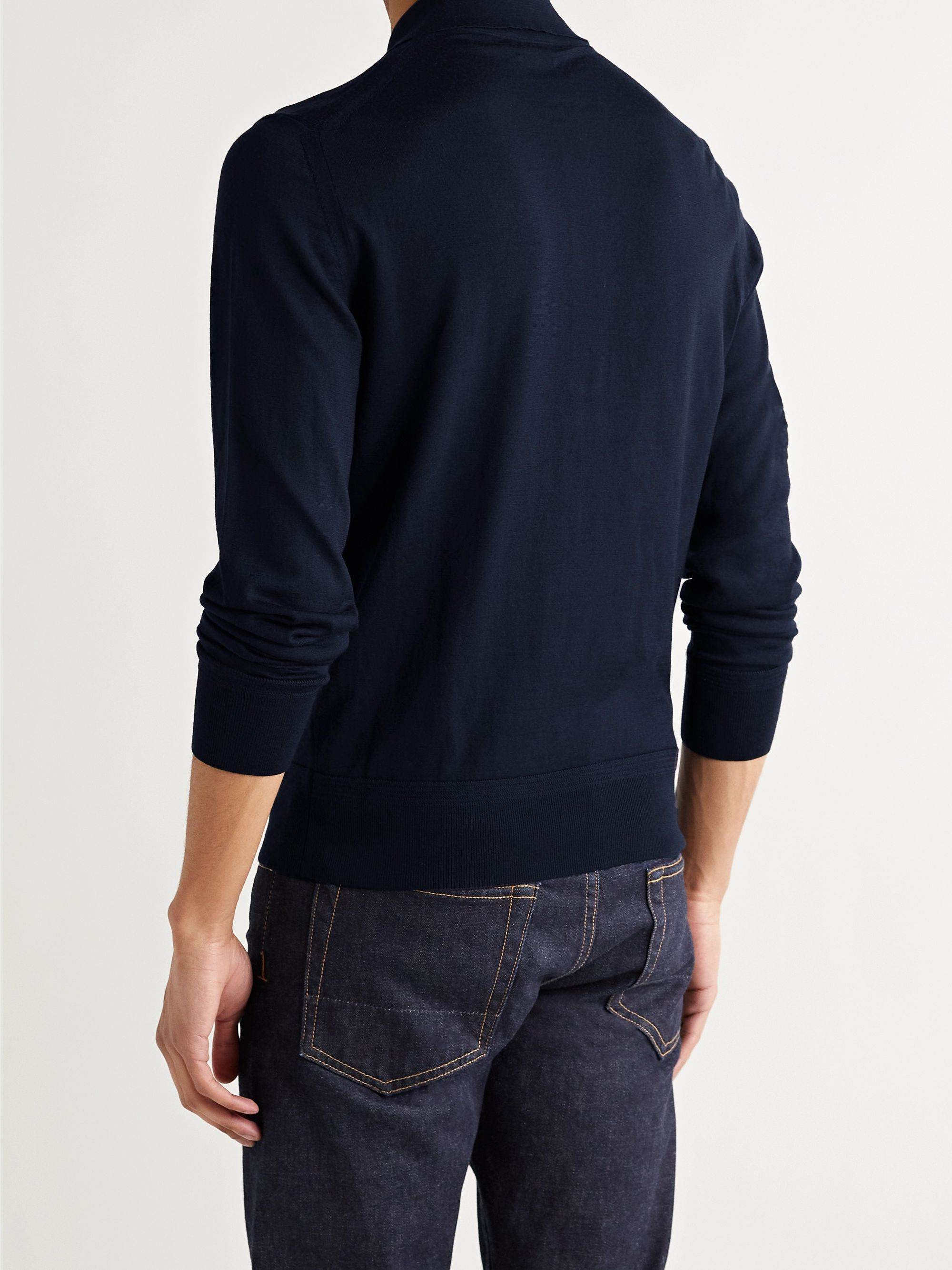 TOM FORD Slim-Fit Mélange Wool Polo Shirt