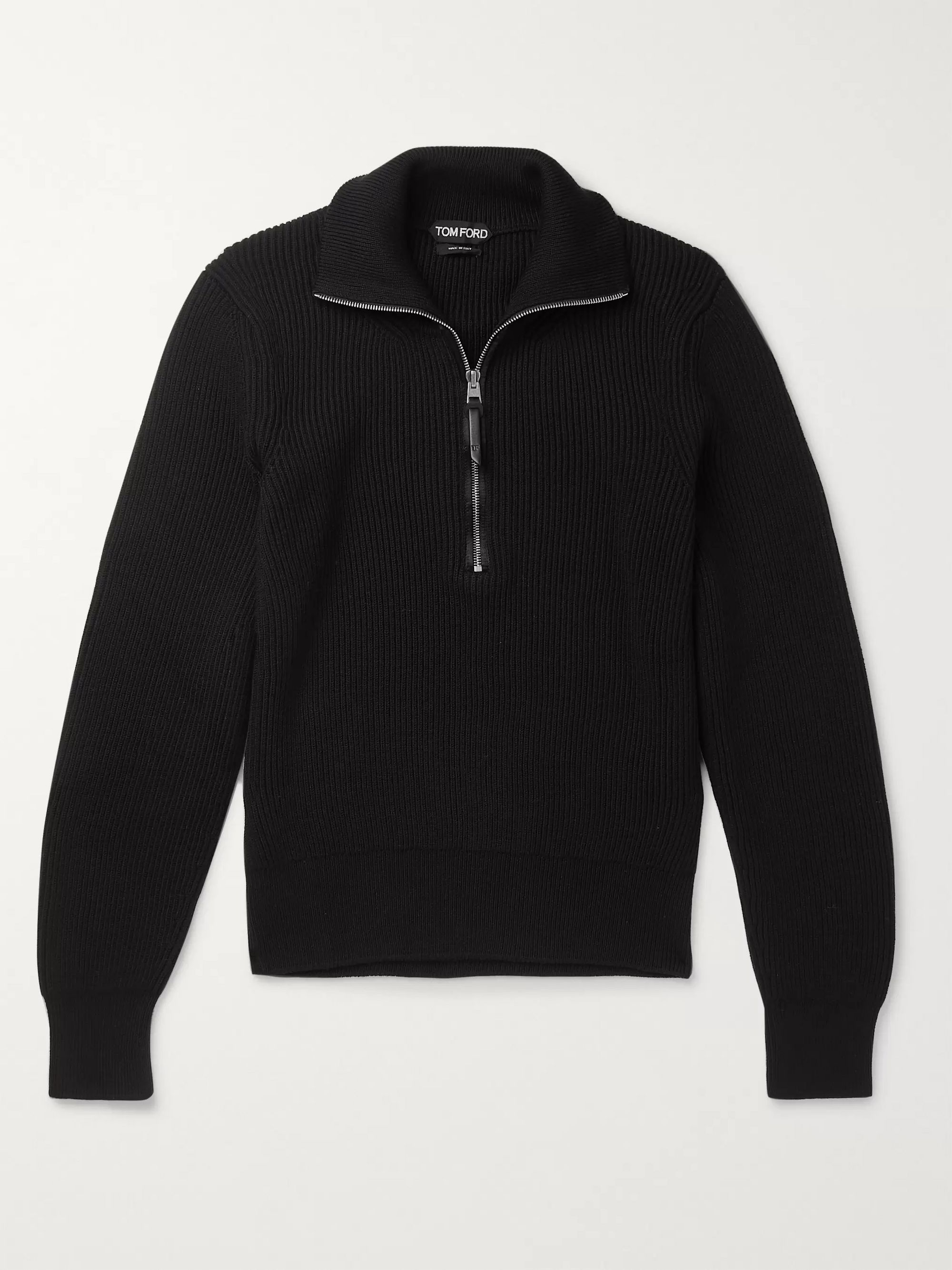 TOM FORD Slim-Fit Ribbed Wool Zip-Up Sweater