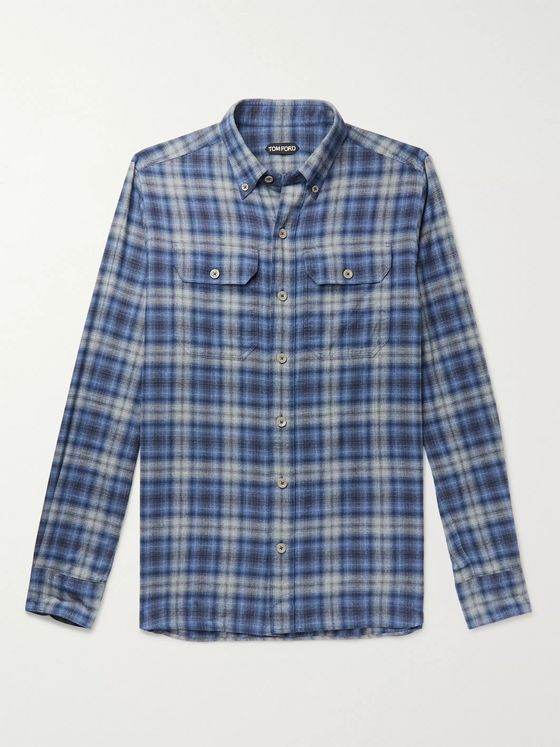TOM FORD Button-Down Collar Checked Brushed-Cotton Shirt