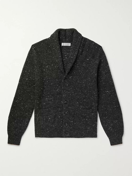 Brunello Cucinelli Shawl-Collar Mélange Virgin Wool-Blend Cardigan