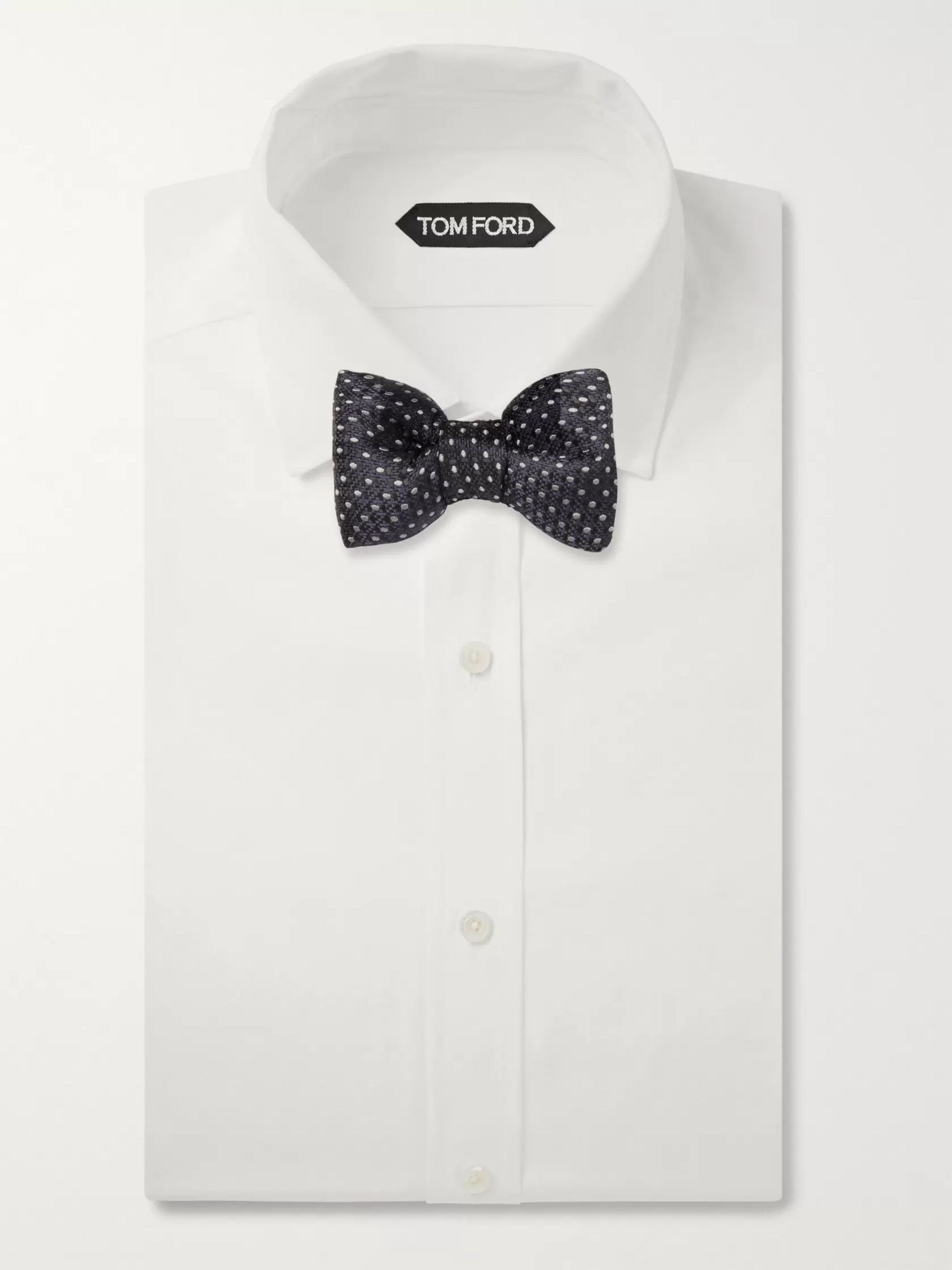 TOM FORD Pre-Tied Polka-Dot Basketweave Bow Tie