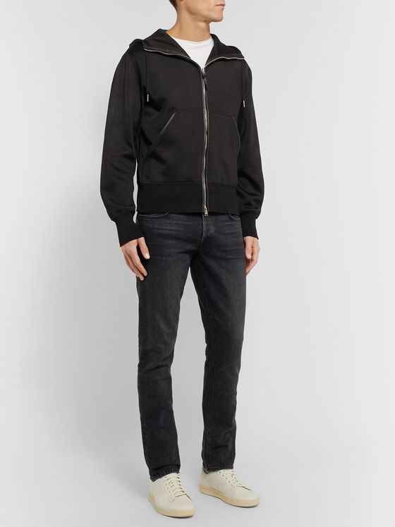 TOM FORD Leather-Trimmed Jersey Zip-Up Hoodie
