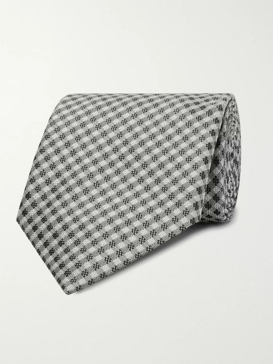 TOM FORD 8cm Gingham Silk-Jacquard Tie