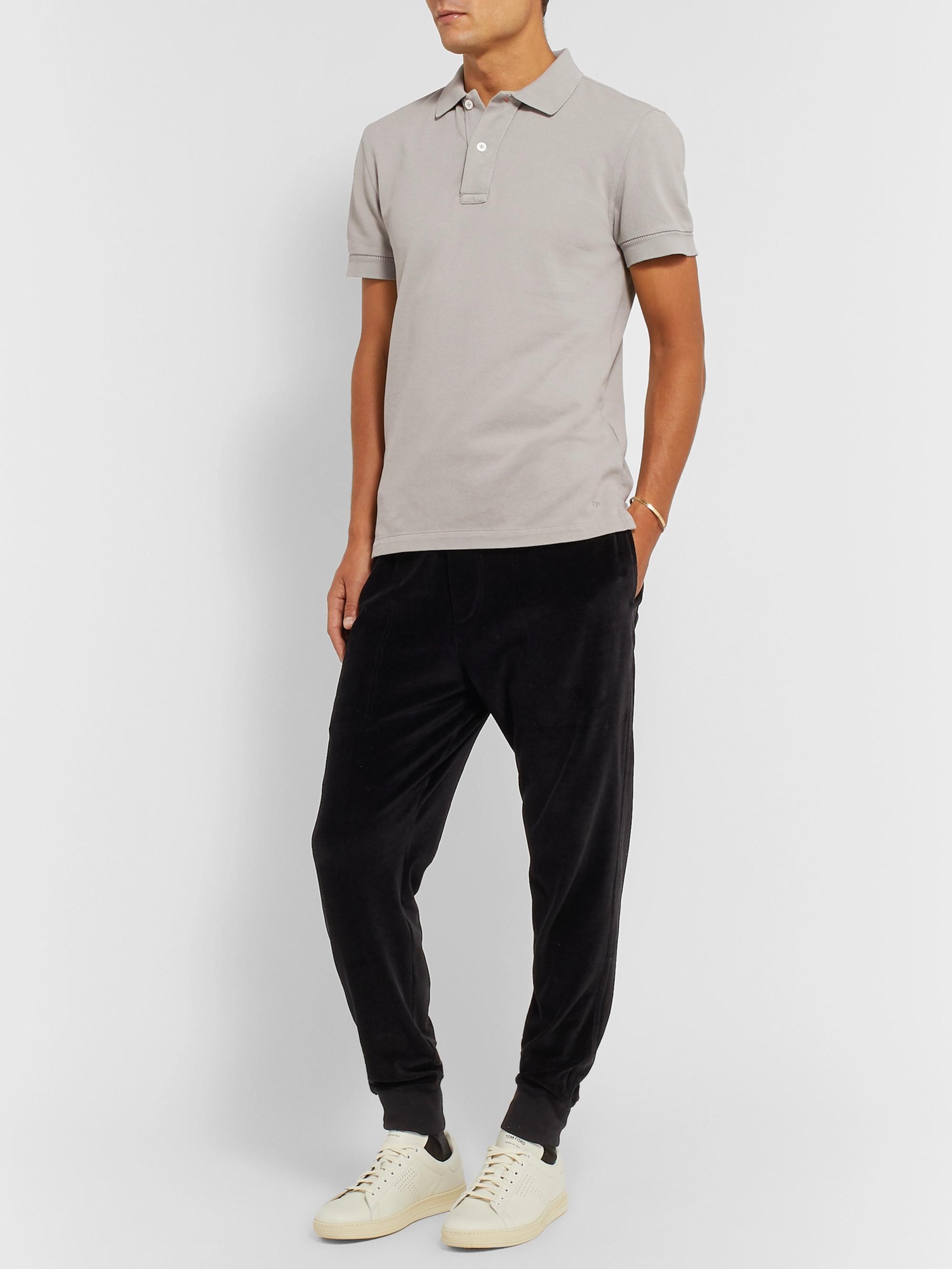 f6fb02782876c Gray Slim-Fit Garment-Dyed Cotton-Piqué Polo Shirt   TOM FORD   MR ...