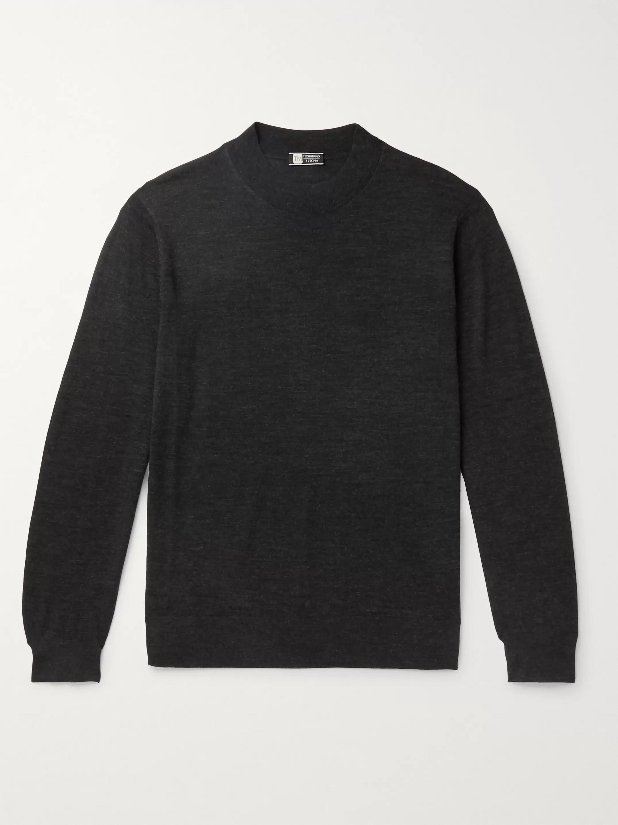 Z Zegna TECHMERINO Wool Mock-Neck Sweater