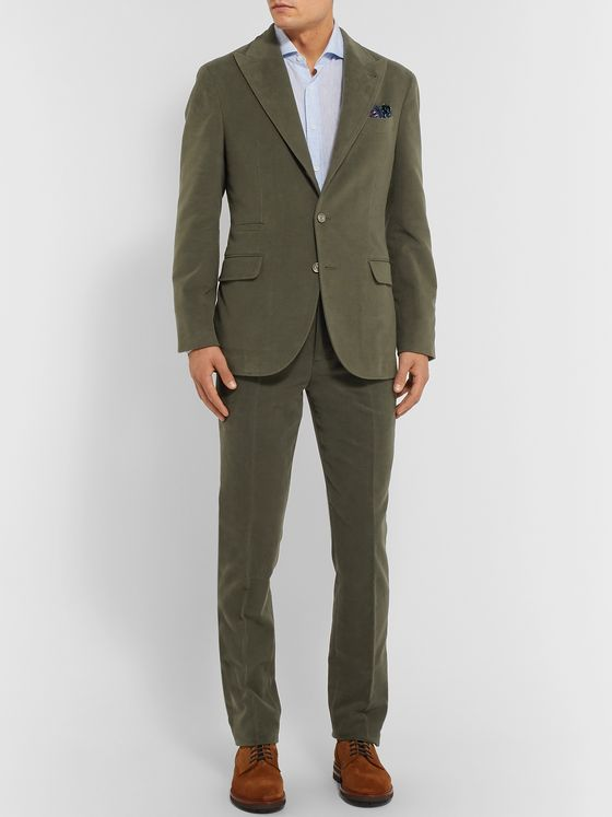 Brunello Cucinelli Dark-Sage Slim-Fit Cotton and Cashmere-Blend Suit Trousers