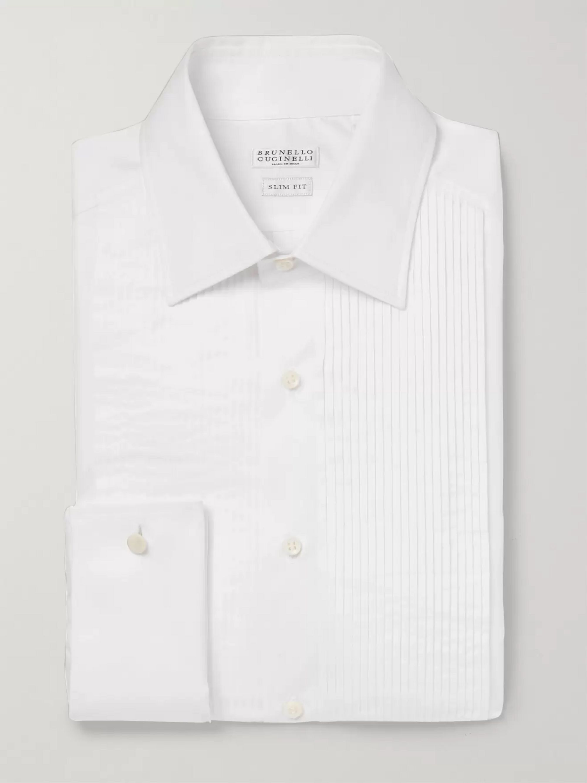 Brunello Cucinelli White Slim-Fit Pleated Bib-Front Double-Cuff Cotton Tuxedo Shirt