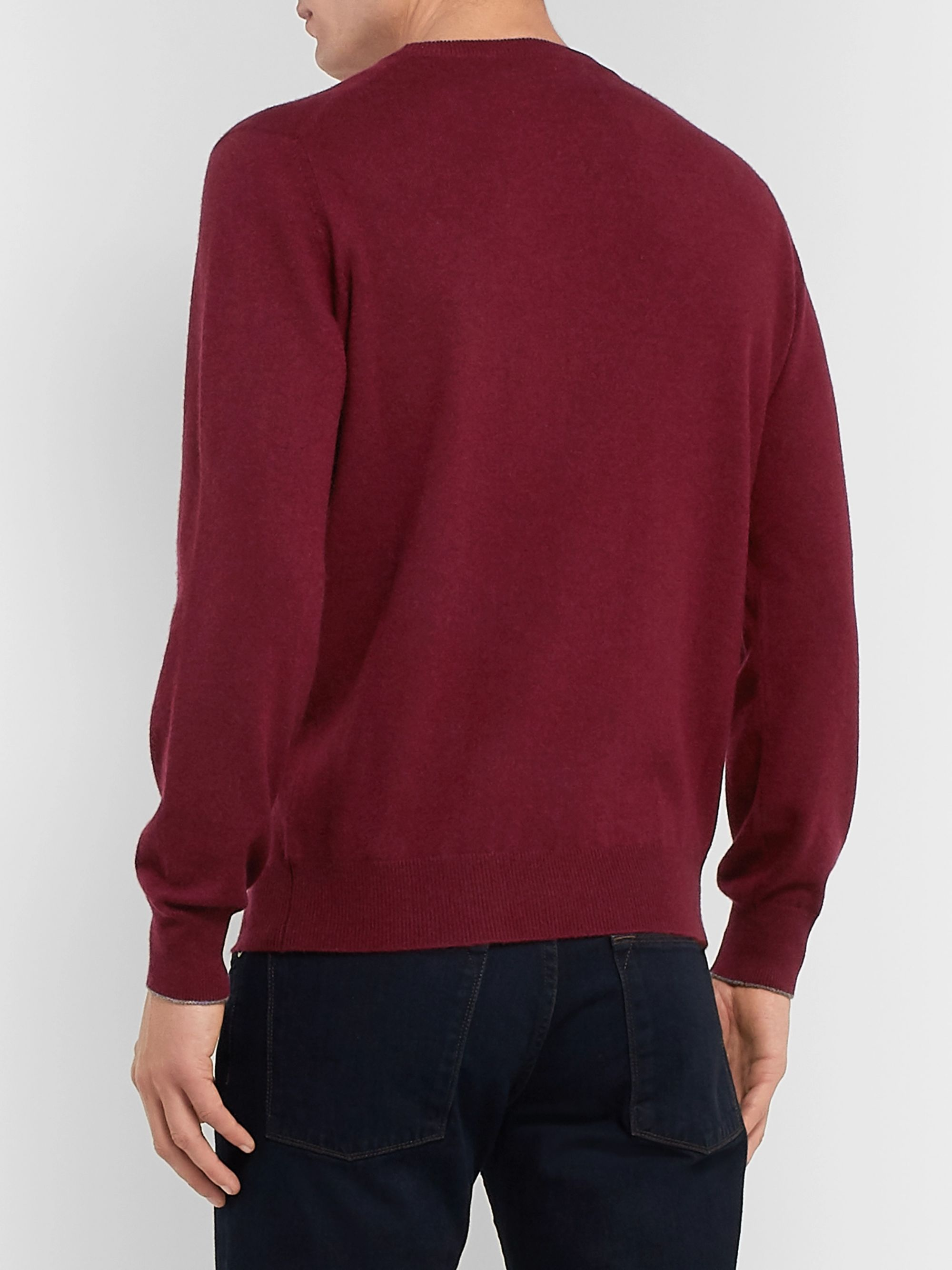 Brunello Cucinelli Contrast-Tipped Cashmere Sweater