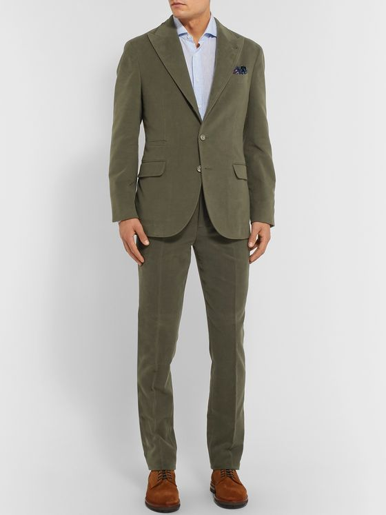 Brunello Cucinelli Dark-Sage Unstructured Cotton and Cashmere-Blend Suit Jacket