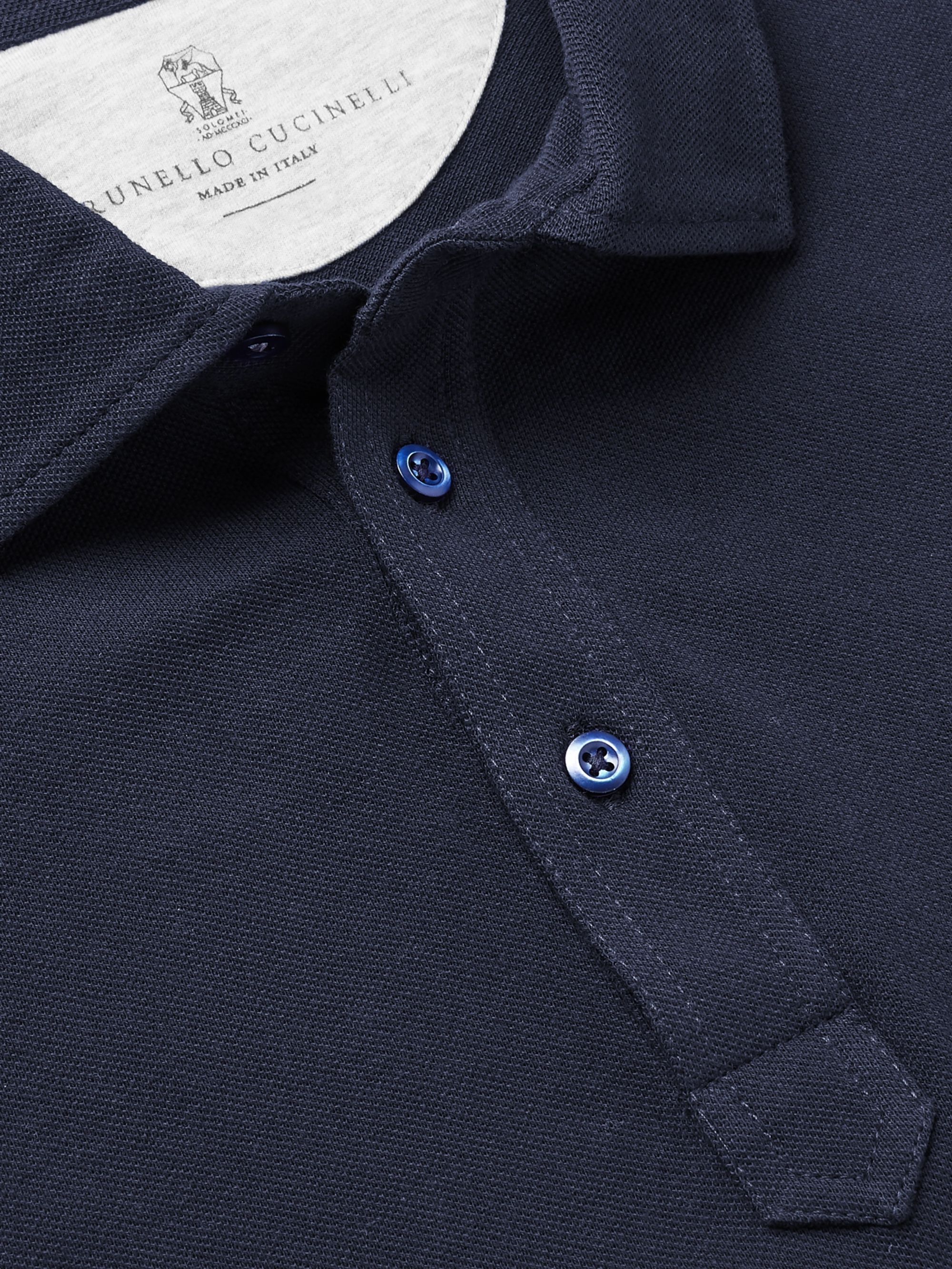 Brunello Cucinelli Slim-Fit Layered Mélange Cotton-Piqué Polo Shirt