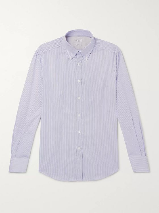 Brunello Cucinelli Slim-Fit Button-Down Collar Striped Cotton-Poplin Shirt