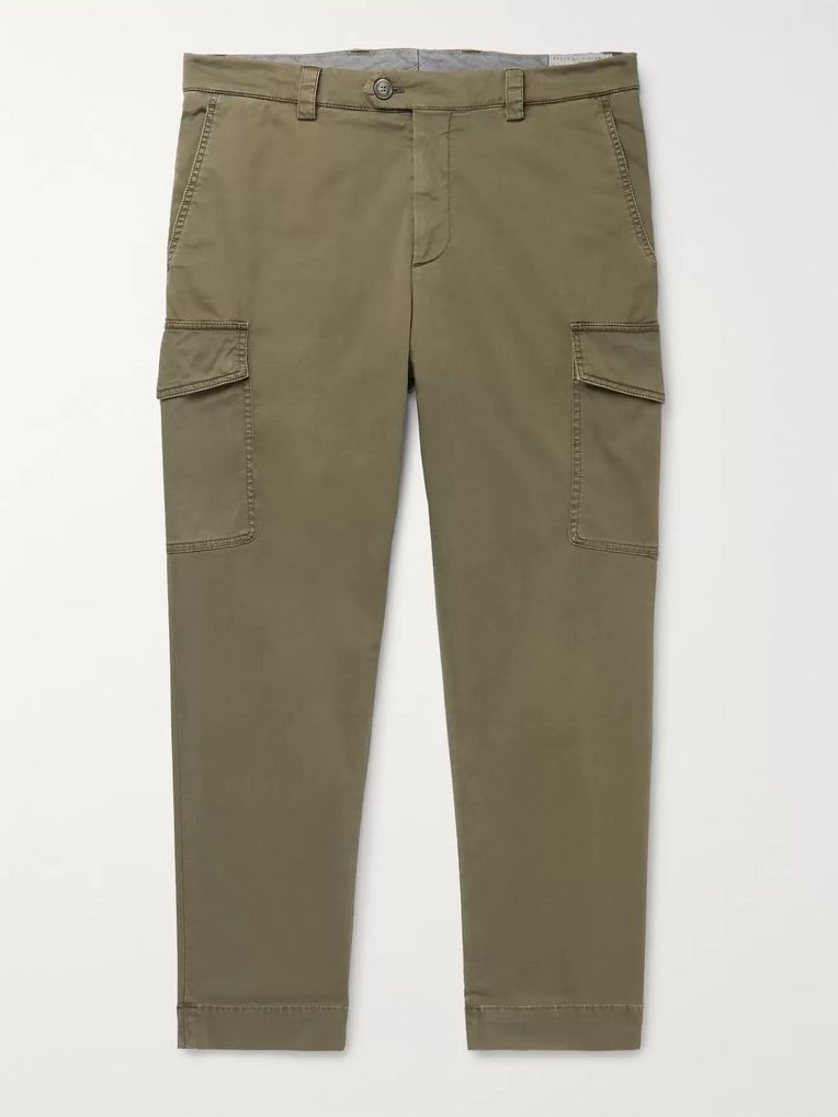 Brunello Cucinelli Tapered Cotton-Blend Twill Cargo Trousers