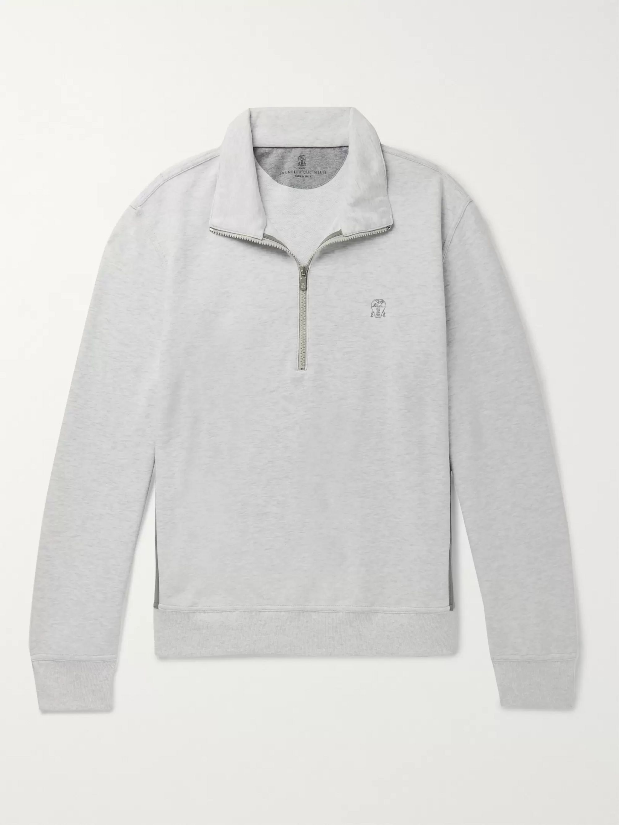 Brunello Cucinelli Nylon-Trimmed Cotton-Blend Jersey Half-Zip Sweatshirt